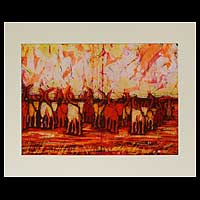 Batik art, 'From Kraal to Grass' - Batik art