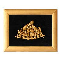 Resin relief panel, 'Passion for Music' - Framed Relief Panel from Africa