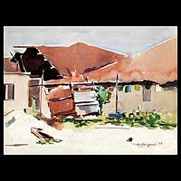 'Compound Bathroom' - Original Watercolor Painting