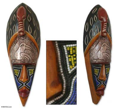 Ghanaian wood mask, 'Timeless Protector' - African wood mask