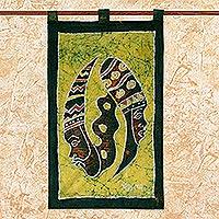 Batik wall hanging, 'Gye Nyame Duality' - Batik wall hanging