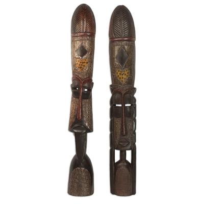 Wood tall sculptures, 'Fulani Leaders' (pair) - Wood tall sculptures (Pair)