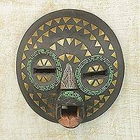 Ghanaian wood mask, 'King's Wife' - Unique Metallic Wall Mask