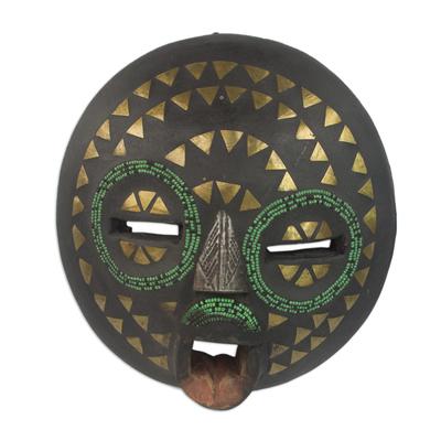 Ghanaian wood mask, 'King's Wife' - Unique Metallic Wall Mask