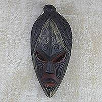 Ghanaian mask, 'Akan Muse' - Unique African Wood Mask