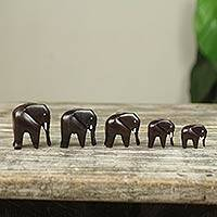 Ebony sculptures, 'Elephant Family' (set of 5)