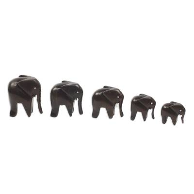 Ebony sculptures, 'Elephant Family' (set of 5) - Artisan Crafted Wood Elephant Sculpture (Set of 5)