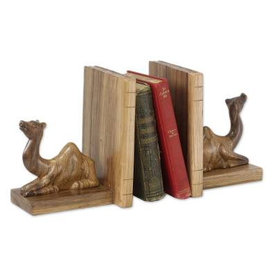 Wood bookends, 'Sahara Camel' (pair) - Handmade Wood Bookends (Pair)