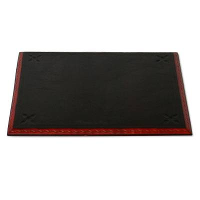Leather desk pad, 'Message from Africa' - Leather Desk Pad