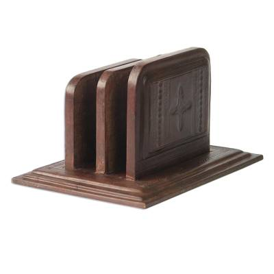 Leather letter holder, 'African Spirit' - Hand Tooled Leather Letter Holder
