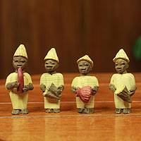 Wood ornaments, 'Welcoming Band' (set of 6)