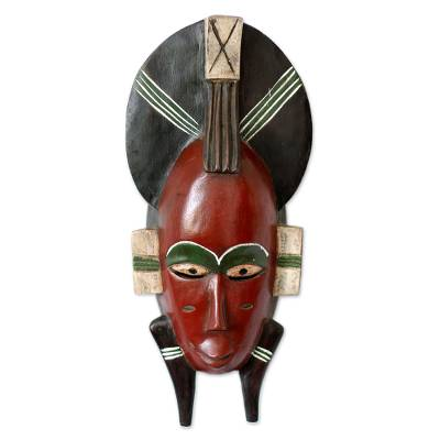 Malian wood mask, 'Senufo Proposal' - Hand Crafted African Malian Wood Mask