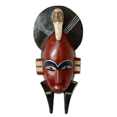 Malian wood mask, 'Senufo Monkey Mask' - African Wall Mask