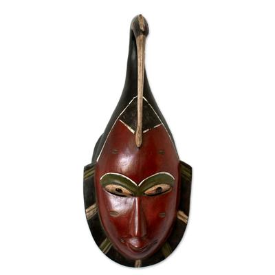 Ivory Coast wood mask, 'Beautiful Marriage' - Hand Made Wall Mask