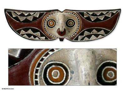 African Burkina Faso wood mask, 'Bwa Butterfly Bird' - Fair Trade Burkina Faso Wood Mask