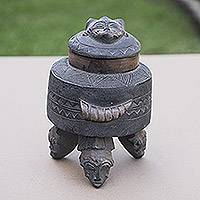 Wood box, 'Jeweled Love' - Fair Trade Decorative West African Wooden Box