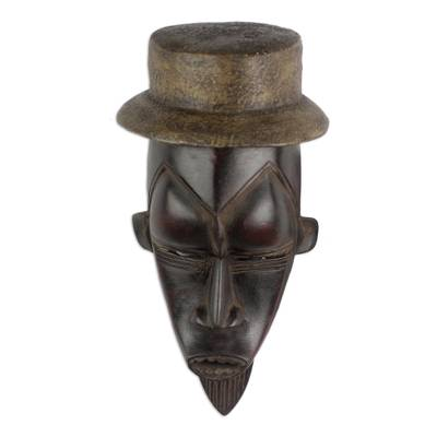 Ivory Coast wood mask, 'Remembrance' - Ivory Coast wood mask