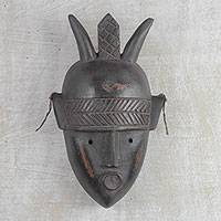 Ivorian wood mask, 'Mighty Warrior' - Artisan Crafted African Wood Mask