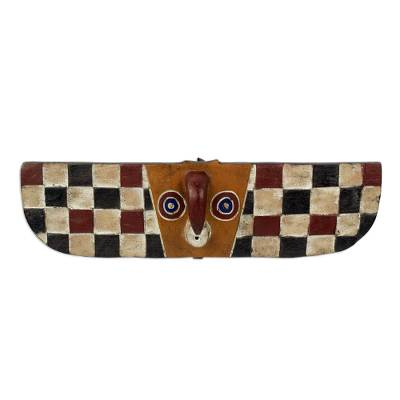 African Burkina Faso wood mask, 'Butterfly Colors' - Artisan Crafted Wall Mask