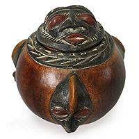 Calabash decorative box, 'Royal Gift' - Handmade Wood Decorative Box