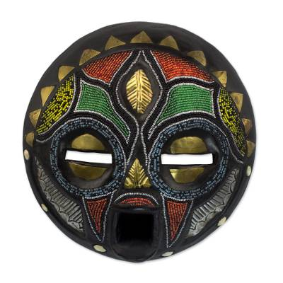 African wood mask, 'Girl Grows Up' - Hand Beaded African Wood Mask
