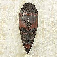 African wood mask, 'Ethiopian Spider' - Handcrafted Wood Mask