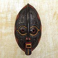 Malian wood mask, 'Spirit Talk' - Handcrafted Ceremonial Mask from Ghana