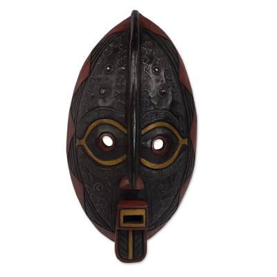 Malian wood mask, 'Spirit Talk' - Unique Malian Wood Mask