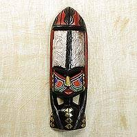 Ghanaian wood mask, 'Shower of Blessings' - Handcrafted Wood Mask from Ghana