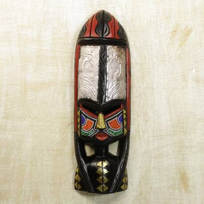 Ghanaian wood mask, 'Shower of Blessings' - African Wood Mask