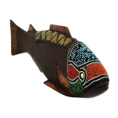 Wood sculpture, 'Rainbow Fish' - Artisan Crafted Wood Sculpture