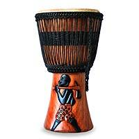 Wood djembe drum, 'Farming Rhythms' - Wood Djembe Drum