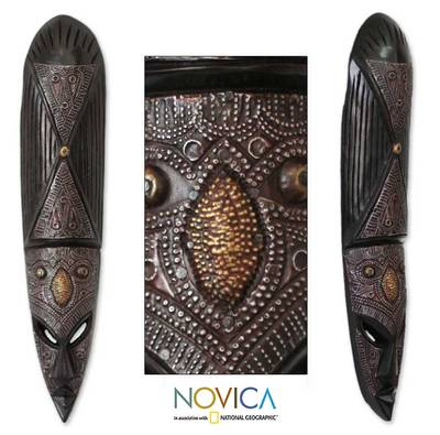 Ghanaian wood mask, 'Wa Iron Warrior' - African Wood Mask