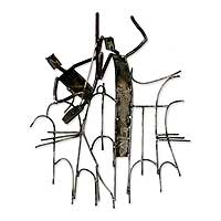 Recycled iron wall sculpture, 'Goje Dancer'
