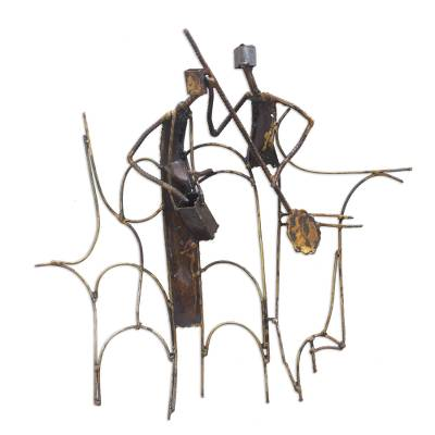 Recycled iron wall sculpture, 'Music Train' - Recycled iron wall sculpture