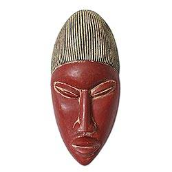 Ivoirian wood mask, 'Baule Freedom from Fear' - Ivoirian wood mask