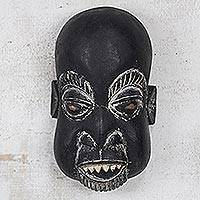 Ghanaian wood mask, 'Executioner' - Hand Carved Sese Wood Wall Mask from Ghana