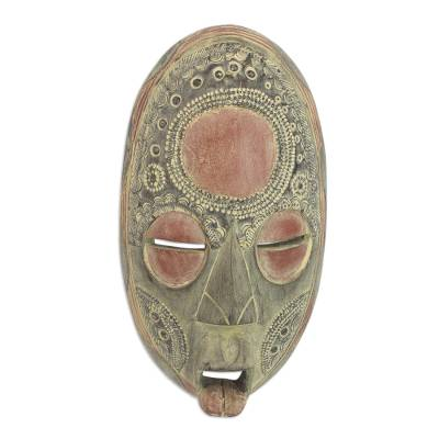 Ghanaian wood mask, 'Good Thoughts' - Fair Trade African Wood Mask