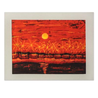 Batik art, 'Evening Glow' - Batik art