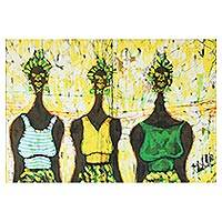 Batik art, 'The Merchants' - Cotton Batik Wall Art