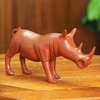 Wood sculpture, 'Handsome Rhino' - Hand Carved Sese Wood Sculpture