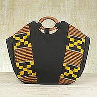 Cotton kente tote handbag, 'Money Is Sweet' - Hand Crafted Kente Cloth and Cotton Handle Handbag