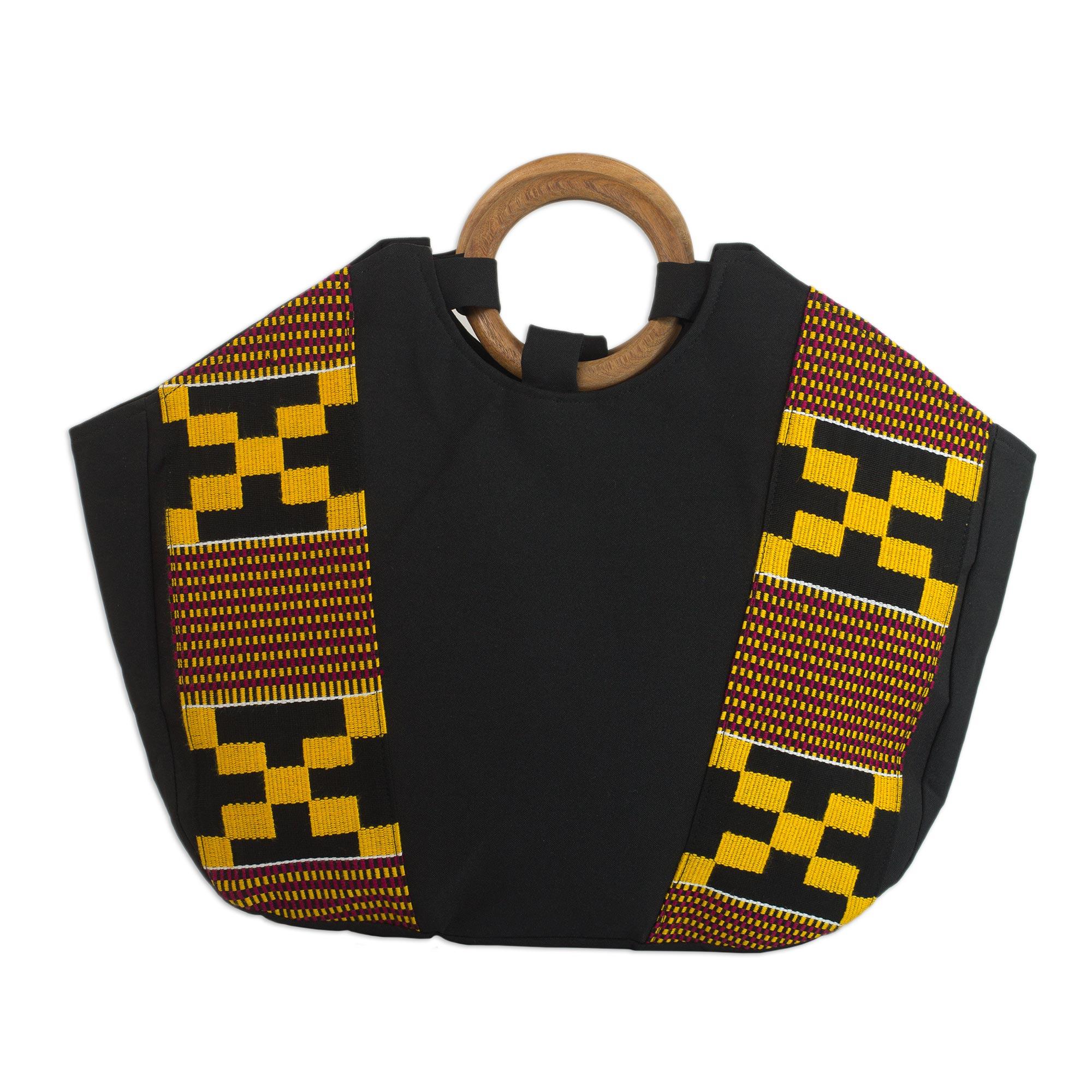 Novica Kente cloth handle handbag, Festive Kente Spirit