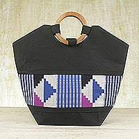Cotton kente tote bag, 'Celestial Harmony' - Cotton kente tote bag