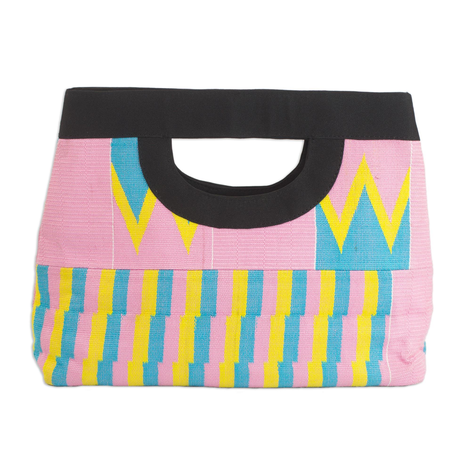 Novica Cotton kente tote handbag, Pink Is Sweet