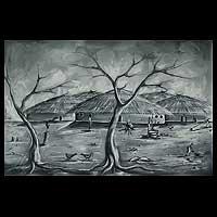 'Bolga Village' - Expressionist Landscape Painting