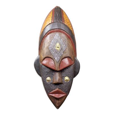 Ivoirian wood African mask, 'Dan Beauty' - Hand Crafted Ivory Coast Mask