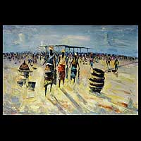 'Market' - African Landscape Painting