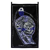 Batik cotton wall hanging, 'Yoruba Chief Drummer' - Batik Cotton Wall Hanging of an African Drummer from Ghana