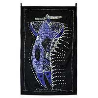 Batik wall hanging, 'Fulani Cattleman' - Batik wall hanging